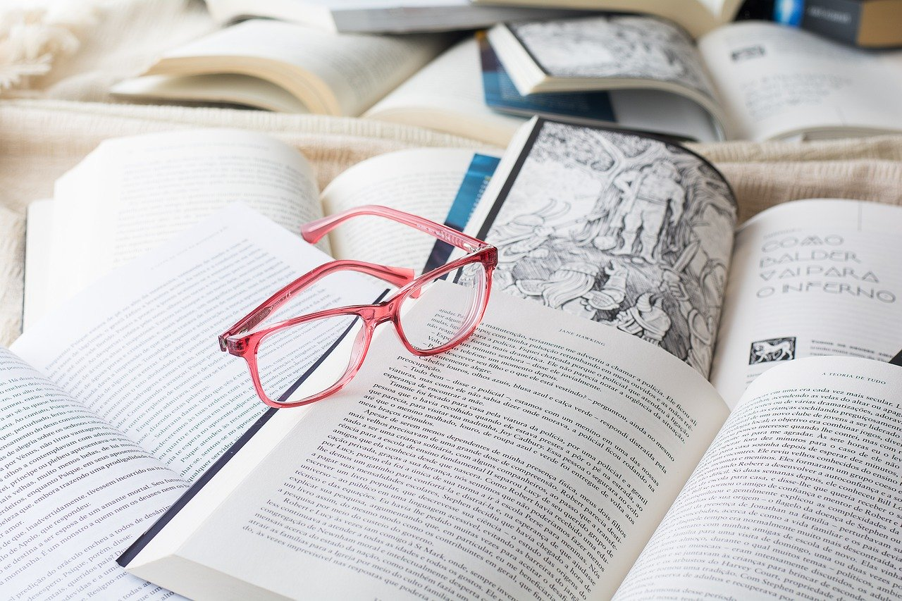 glasses, reading, book